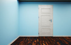 The empty corner of the room with closed the door. 3d illustration of an empty corner of the room closed the door interior flooring and skirting Stock Photos