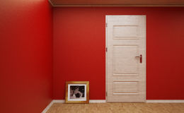 The empty corner of the room with photos of the dog. 3d illustration. 3d illustration of an empty corner of the room with photos of the dog Royalty Free Stock Photos
