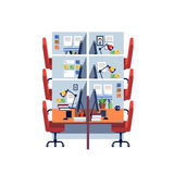 Empty corporate cubicle office work space interior. With computers. Modern colorful flat style vector illustration isolated on white background Stock Photography