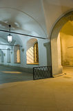 Empty corridor. Long empty corridor outside as beautiful old architecture in Vienna/ Austria, part of the legendary Spanish Riding school Royalty Free Stock Image
