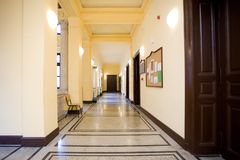 Empty corridor. In the school or university Stock Photos