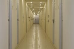 Empty corridor with doors. And downlights Royalty Free Stock Image