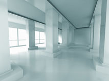 Empty Corridor Interior Background With Columns And Windows. 3d Render Illustration Stock Photography