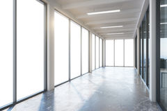 Empty corridor interior. With blank window. 3D Rendering Stock Photo