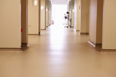 Empty Corridor With Medical Equipment In Modern Hospital Stock Image