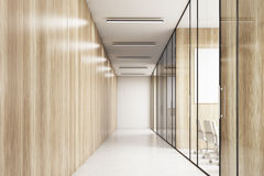 Empty corridor of a wooden office Royalty Free Stock Photo