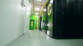 Empty corridors of the functioning server room. 4K stock footage