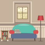 Empty Couch With Bookcase In Front Of Window Stock Photos