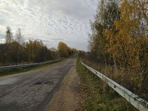 Empty country road in autumn afternoon