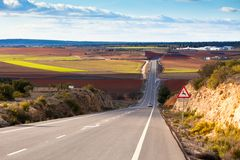 Empty country road in winter Spain Royalty Free Stock Image