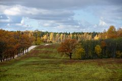 Empty countryside fields in late autumn. Overcast day royalty free stock image