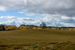 Empty countryside fields in late autumn. Overcast day stock images