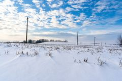 Empty Countryside Landscape in Sunny Winter Day with Snow Covering the Ground with Power Lines in Frame, Abstract Background with. Deep Look - Concept of Fun stock photos