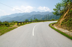 Empty countryside road. With lonely tree and clear blue sky Stock Photo