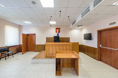 Empty courtroom interior. Royalty Free Stock Photos