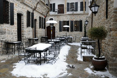 Empty Courtyard Restaurant in the Winter Stock Photo