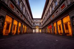 The empty courtyard by the Uffizi Museum in Florence, Italy at sunrise stock images
