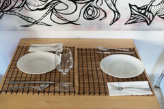 Empty covered table in the restaurant Royalty Free Stock Photography