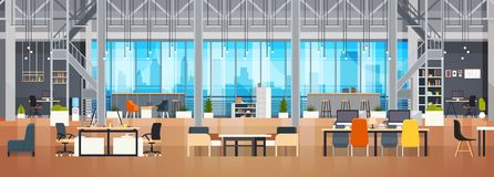Empty Coworking Space Interior Modern Coworking Office Creative Workplace Space Horizontal Banner. Flat Vector Illustration vector illustration