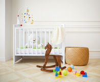 Empty cozy nursery room in light tones. Empty nursery room with basket, toys and wooden horse stock images