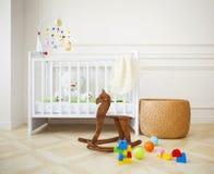 Empty cozy nursery room in light tones stock images