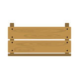 Empty crate. Vector illustration of realistic wooden vegetable box with holes. Fruit drawer front view. Crate isolated on white background. Box for storage and stock illustration