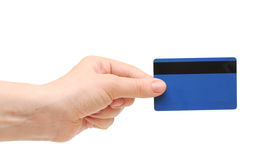 Empty credit card female hand holding Royalty Free Stock Images