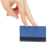 Empty credit card female hand holding Stock Photos