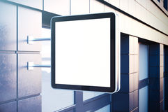 Empty cristal digital screen on the urban city. Concrete facades of modern buildings. Horizontal mockup, isolated Royalty Free Stock Photos
