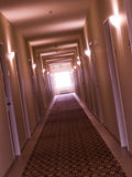 Empty, crooked hotel corridor Stock Images