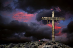 Empty Cross Against an Angry Sky Royalty Free Stock Photography