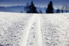 Empty cross-country ski track. And blue sky Royalty Free Stock Photography