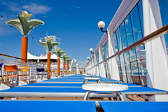 Empty Cruise Ship Deck Chairs Royalty Free Stock Photo