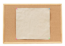 Empty crumple papers on cork board Royalty Free Stock Images
