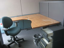 Empty cubic in closed company. Empty workplace in bankrupted company Royalty Free Stock Image