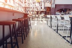 Empty culinary academy. Modern furniture and equipment. Rows of chairs stock photos