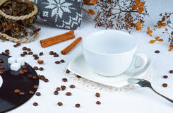 Empty cup among coffee beans Stock Images