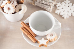 Empty cup of coffee with cakes Stock Photo