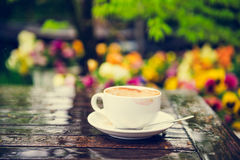 Empty cup of coffee with traces of lipstick Royalty Free Stock Image