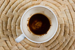 Empty cup of coffee. On wicker background Stock Photo
