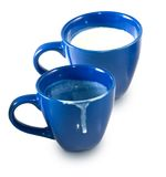 Empty cup and a cup of milk Royalty Free Stock Photography