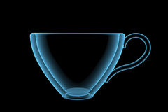 Empty cup (3D xray blue transparent) Royalty Free Stock Photography
