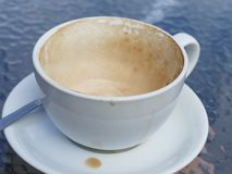 Empty cup of latte coffee. A lush empty cup of latte coffee Stock Image