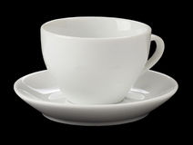 Empty Cup Of Coffee Isolated On Black Stock Photos