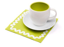 Empty cup on placemat Stock Photos