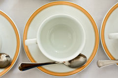 Empty cup and saucer ,top view Royalty Free Stock Images