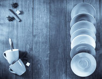 Empty  cup and saucer on wood Stock Images