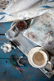 Empty cup set on a wooden table Royalty Free Stock Photography