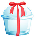 An empty cupcake container with a red ribbon Stock Images