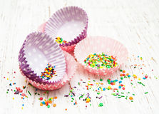 Empty cupcake cups Royalty Free Stock Photography